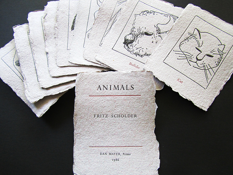 Animals by Fritz Scholder in collaboration with Dan Mayer. Nine of the artists favorite animal flashcards letterpress printed on handmade paper.  Edition of 75 sets. 1986