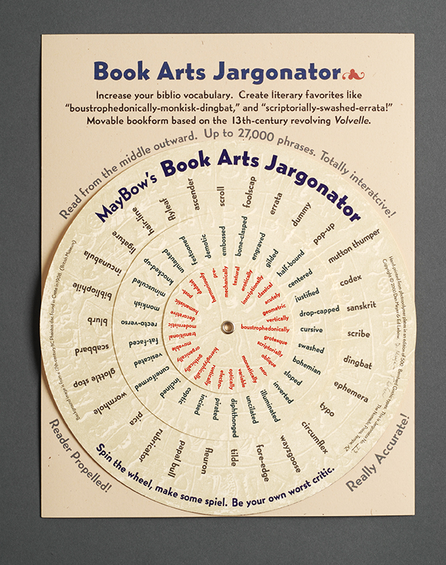 Book Arts Jargonator, movable text volvelle