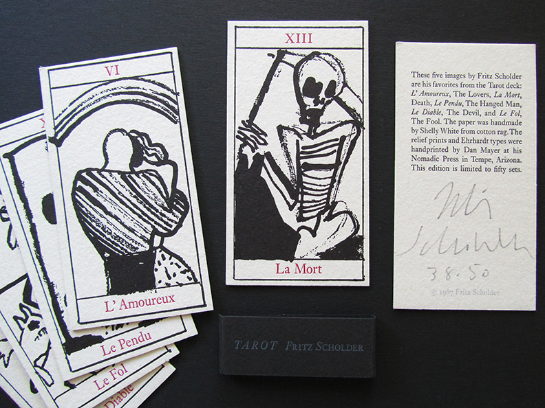 Tarot by Fritz Scholder in collaboration with Dan Mayer. Five of the artists favorite Tarot cards letterpress printed on handmade paper. Edition of 50, 4 remaining sets. 1987