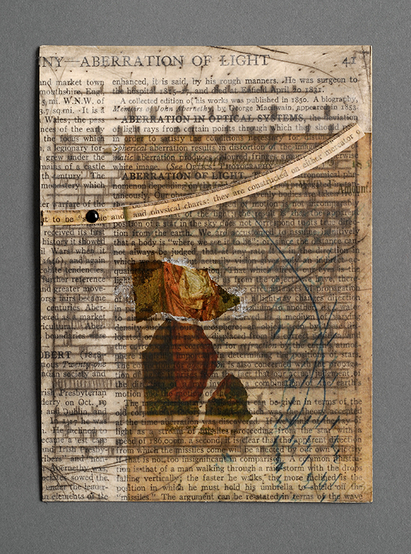 Book page series, Book page series _3 Collaged bookpage with drypoint etching and image transfer process and gold leaf
