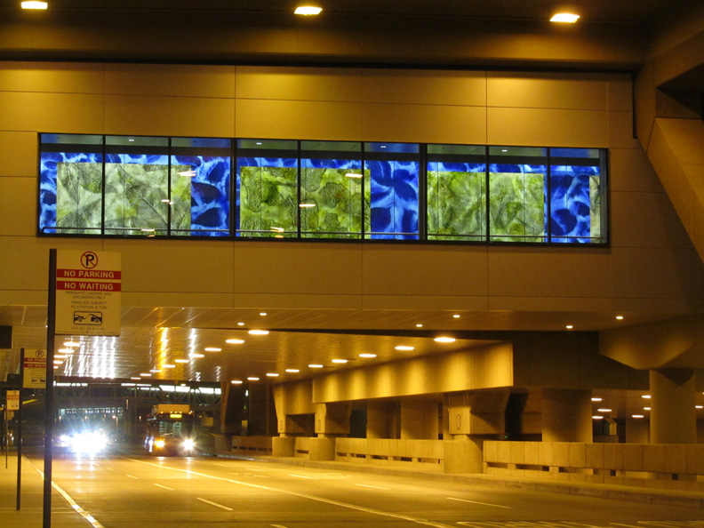 Street view of architectural glass, Phoenix Sky Harbor Airport