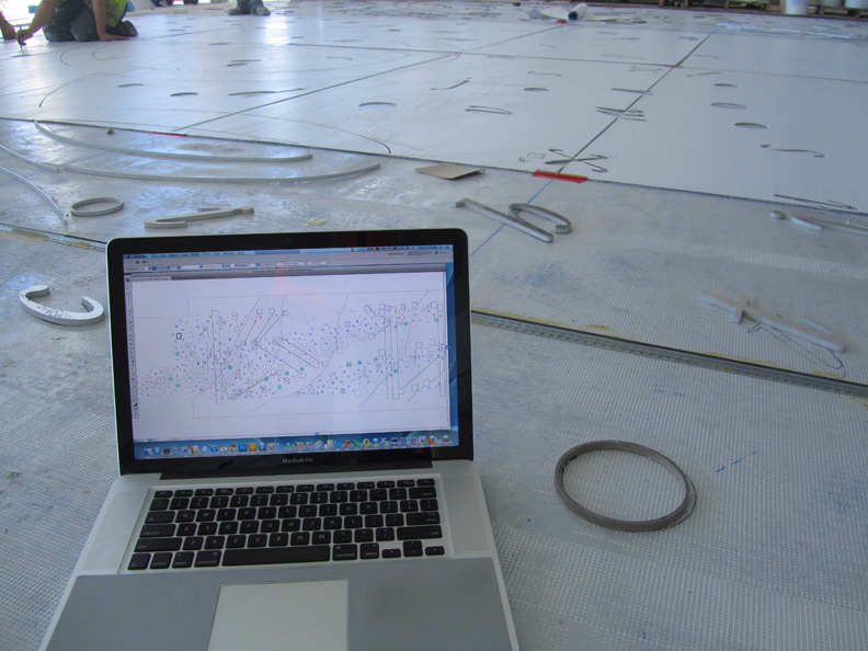 Site inspection with computer design for terrazzo floor