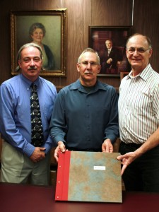 Rob Spindler, Dan Mayer and John Risseeuw in the ASU Special Collections. Photo Credit